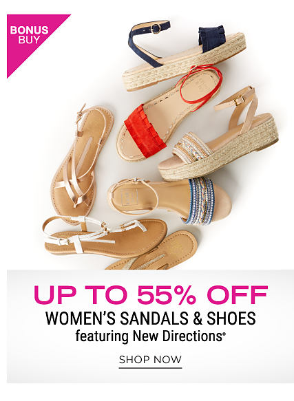 An assortment of women's sandals in an assortment of colors & styles. Bonus Buy. Up to 55% off women's sandals & shoes featuring New Directions. Shop now.