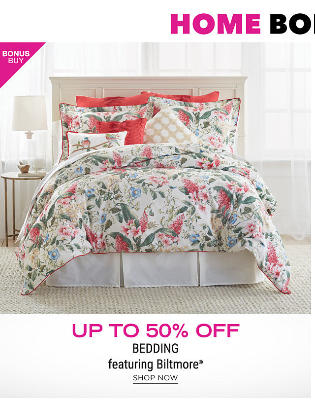 A bed made with a mullti colored floral print comforter & matching pillows. Bonus Buy. Up to 50% off bedding featuring Biltmore. Shop now.