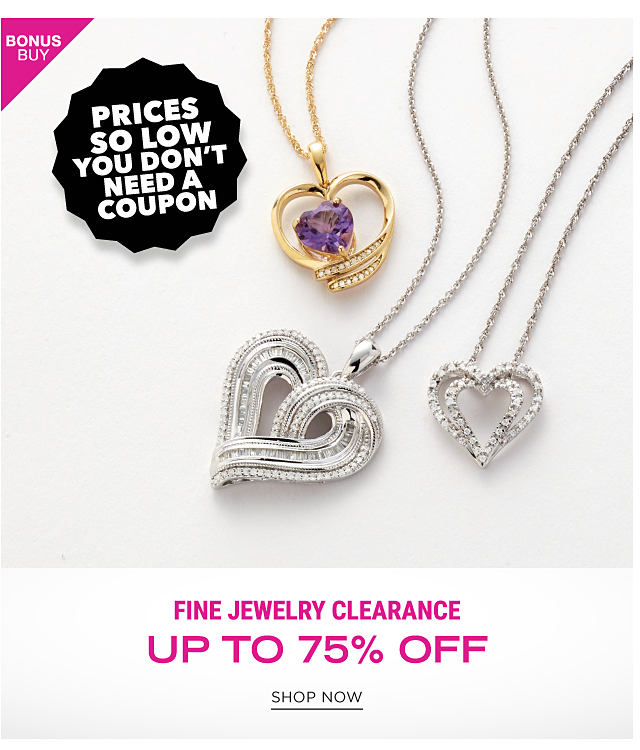 2 diamond encrusted silver heart pendant necklaces & a diamond encrusted gold heart pendant necklace. Bonus Buy. Prices So Low You Don't Need a Coupon. Fine Jewelry Clearance. Up to 75% off. Shop now.
