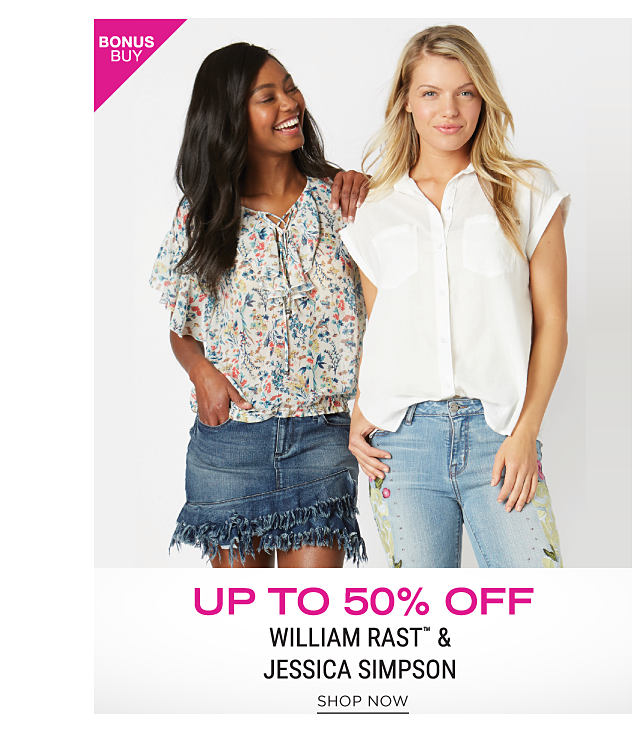 A woman wearing a multi colored print short sleeved peasant blouse & a denim skirt standing next to a woman wearing a white short sleeved blouse & faded jeans. Bonus Buy. Up to 50% off William Rast & Jessica Simpson. Shop now.