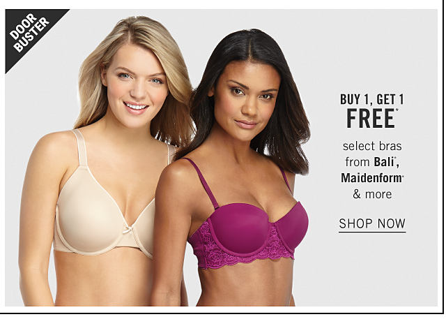 A woman wearing a beige bra standing next to a woman wearing a purple bra. Doorbuster. Buy 1, Get 1 Free select bras from Bali, Maidenform & more. Shop now.