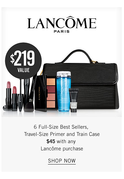 An assortment of Lancome beauty products & a black makeup case. Lancome Paris. Six full size best sellers, travel size primer & train case. $45 with any Lancome purchase. A $219 value. Shop now.