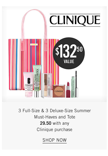 An assortment of Clinique beauty products, a multi color striped tote. 3 full size & 3 deluxe size summer must haves and tote. 29.50 with any Clinique purchase. Shop now.