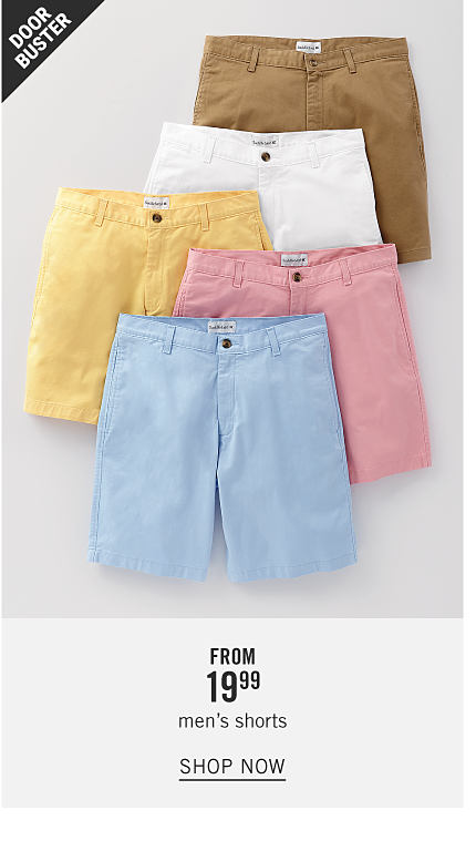 An assortment of men's shorts in a variety of pastel colors. Doorbuster. From $19.99 men's shorts. Shop now.