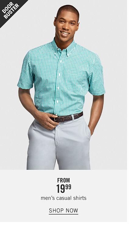 A man wearing a teal & white gingham short sleeved button front shirt & light gray pants. Doorbuster. From $19.99 men's casual shirts. Shop now.