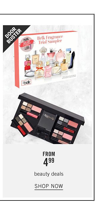 A Belk fragrance trial sampler & a Belk Beauty eyeshadow palette. Doorbuster. From $4.99 beauty deals. Shop now.