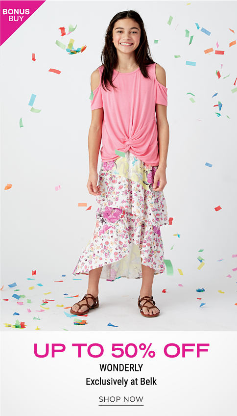A girl wearing a peach sleeveless dress & silver sandals. Bonus Buy. Up to 50% off Wonderly. Exclusively at Belk. Shop now.