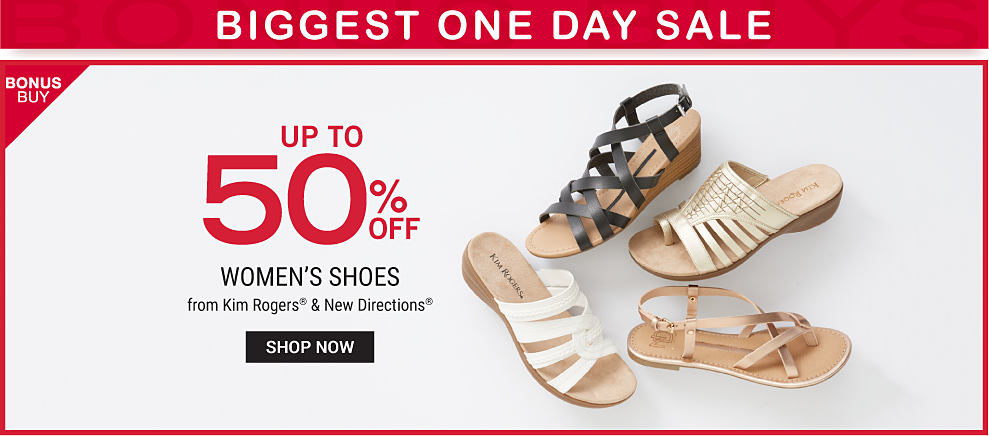 An assortment of women's sandals in a variety of colors & styles. Biggest  One Day