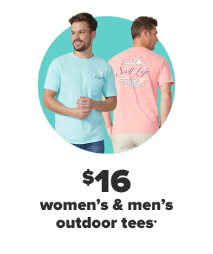 A man in a light blue Salt Life shirt, and a man behind him facing the other way to show the back of a pink Salt Life shirt. $16 women's and men's outdoor tees.