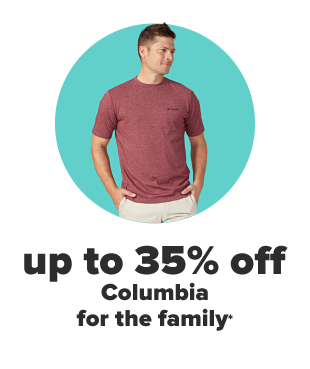 A woman in a coral long sleeve Columbia button up with the sleeves rolled up to the elbows. A man in a red short sleeve Columbia tee. Up to 35% off Columbia for the family.