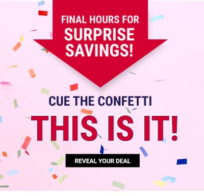 Final Hours for Surprise Savings! Cue the confetti, this is it! Reveal your deal.