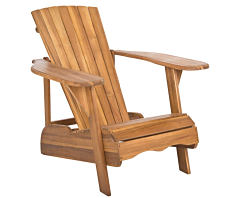 A brown wooden adirondack chair. Shop patio furniture