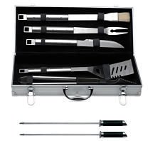 A set of grilling tools in a case. Shop grilling.