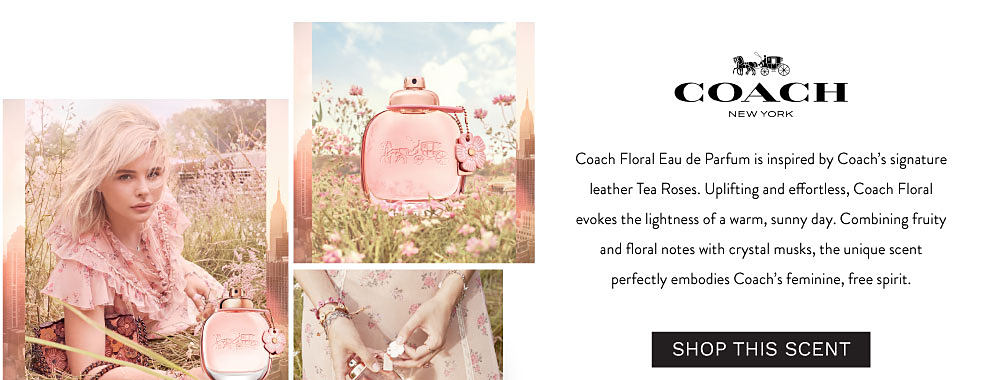 Coach Floral Eau de Parfum is inspired by Coach's signature leather Tea Roses. Uplifting and effortless, Coach Floral evokes the lightness of a warm, sunny day. Combining fruity and floral notes with crystal musks, the unique scent perfectly embodies Coach's feminine, free spirit.