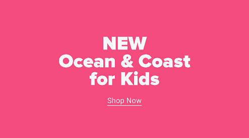 A little girl in sunglasses, a grey graphic tee, and bright floral shorts holding a pink inner tube. New Ocean and Coast for kids. Shop now.