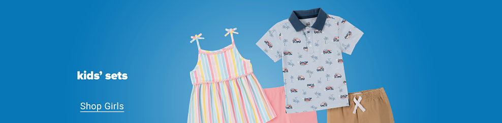 A rainbow colored striped tank top with tie accents on the shoulders and pink leggings. A light blue patterned polo with a navy blue color and khaki shorts. Kids' sets. Shop girls. Shop boys.