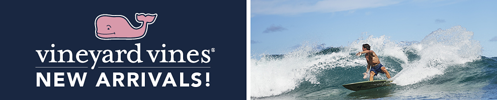 The pink whale Vineyard Vines logo. Vineyard Vines new arrivals. A photo of a man surfing.