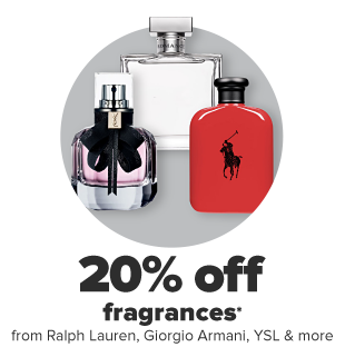 Three fragrances. 20% off fragrances from Ralph Lauren, Giorgio Armani, YSL and more.