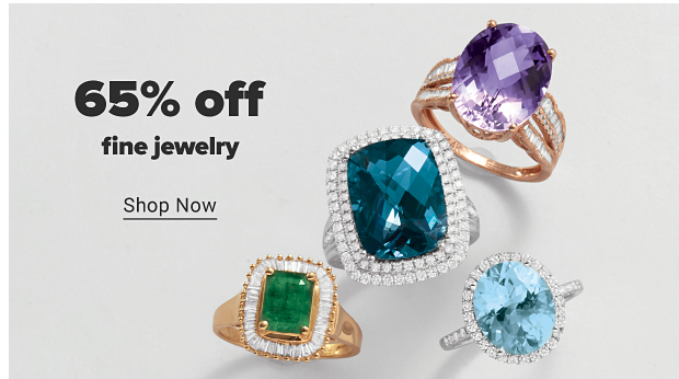 An assortment of rings featuring large gemstones with white diamond accents. 65% off fine jewelry. Shop Now.