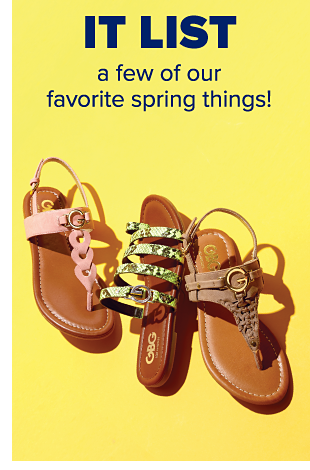 A sandal with a pink braided thong design and ankle strap. A slip-on sandal with green straps. A brown sandal featuring a braided thong design and ankle strap. It List. A few of our favorite spring things.