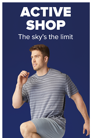A man in a running pose wearing a gray striped shirt and gray jogging shorts. Active Shop. The sky's the limit.