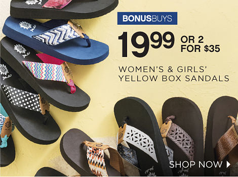 BONUSBUYS | 19.99 OR 2 FOR $35 WOMEN'S & GIRLS' YELLOW BOX SANDALS | SHOP NOW