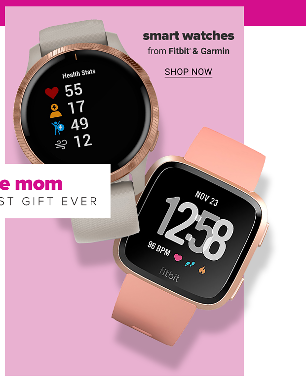 Two rose gold smart watches in different styles. Smart watches from Fitbit and Garmin, shop now.