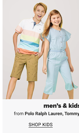 A boy wearing a white pink and light blue colorblock short sleeve polo, khaki shorts. A girl wearing a blue capri length jumpsuit. A man in a navy polo, white shorts and navy sneakers. Men's and kids' classic sportswear from Polo Ralph Lauren, Tommy Hilfiger, Tommy Bahama and more, shop men, shop kids.