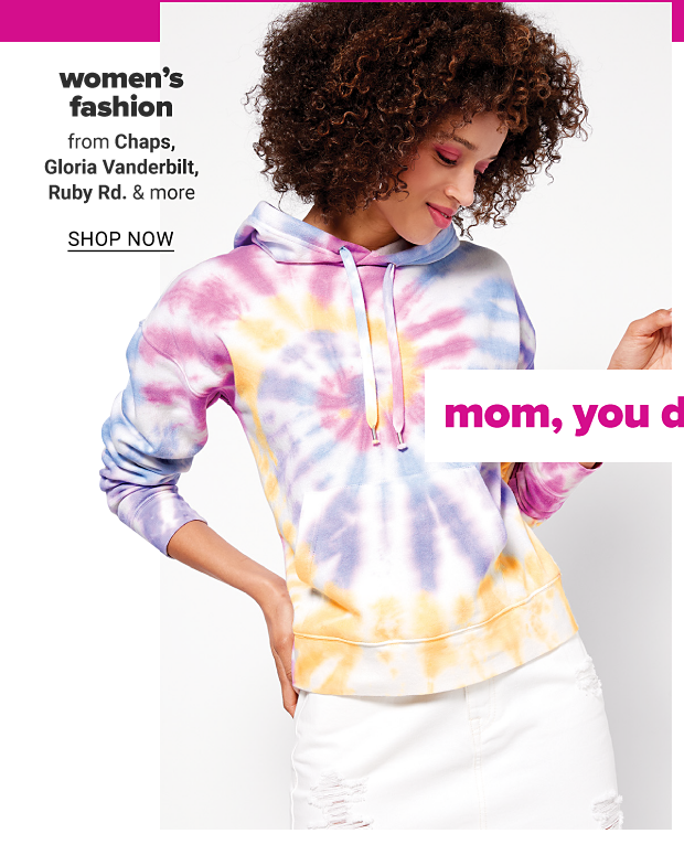 A woman wearing a tie dye hoodie and a white denim skirt. Women's fashion from Chaps, Gloria Vanderbilt, Ruby Rd. and more shop now
