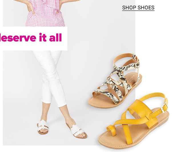 A woman in a pink and white sleeveless top, white cropped pants and white sandals. A snake print sandal and a yellow sandal. Women's Belk exclusives from New Directions, Crown and Ivy, Kim Rogers and more, shop women, shop shoes.