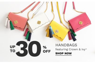up to 30% off handbags featuring crown & ivy | shop now