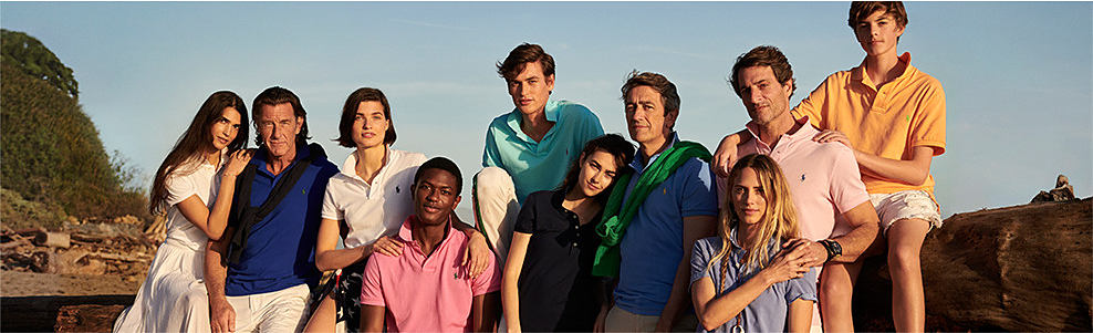 A group of men & women wearing various styles of summer styles. Polo Ralph Lauren. Ralph Lauren's latest collection pays homage to collegiate prep with a new-school style, including denim, chinos, sport coats, sweaters, jackets, polo shirts & more fall favorites.