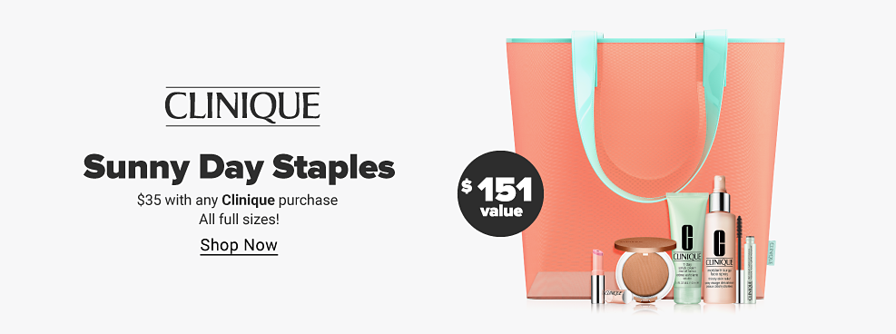 Clinique A coral bag with teal accents. A variety of skincare and makeup products. $151 value. Sunny Day Staples. $35 with any Clinique purchase. All full sizes! Shop now.
