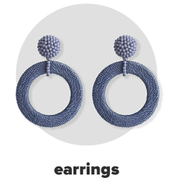 A pair of blue hoop drop earrings. Earrings.