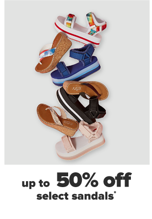 Seven sandals in various sizes, shades and styles. Up to 50% off select sandals.