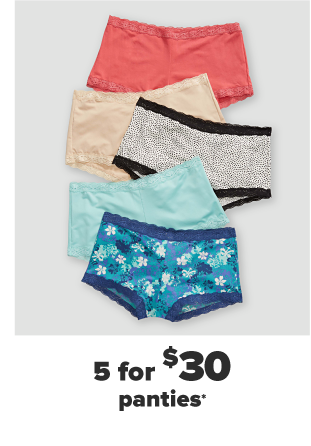 Five pairs of boy shorts in various colors and patterns. Five for $30 panties.