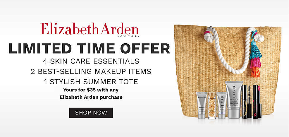 A tote bag with a color tassel accent and an assortment of Elizabeth Arden makeup. Elizabeth Arden. Limited time offer. 4 skin care essentials. 2 best selling makeup items. 1 stylish summer tote. Yours for $35 with any $35 Elizabeth Arden purchase. Shop now.