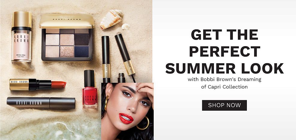 A makeup collection from Bobbi Brown and a closeup of a woman modeling the makeup. Get the perfect summer look with Bobbi Brown's Dreaming of Capri collection. Shop now.