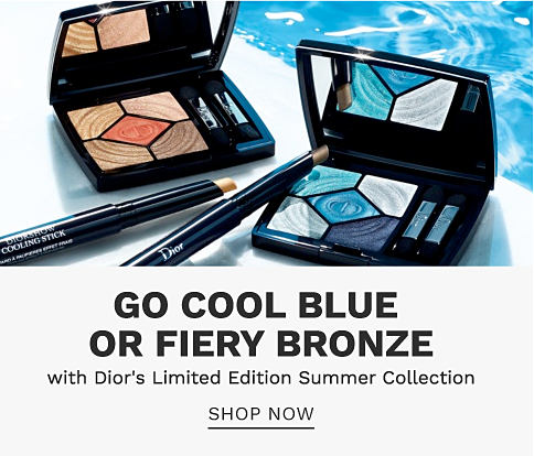 Two eye shadow palettes and two coloring sticks from Dior. Go cool blue or fiery bronze with Dior's limited edition summer collection. Shop now.