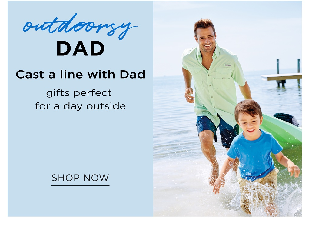 Dad is wearing a light green short sleeved button front shirt & navy swim trunks running in the water on the beach with his son. Son is wearing a blue T shirt & beige swim trunks. Outdoorsy Dad. Gifts perfect for a day outside. Shop now.