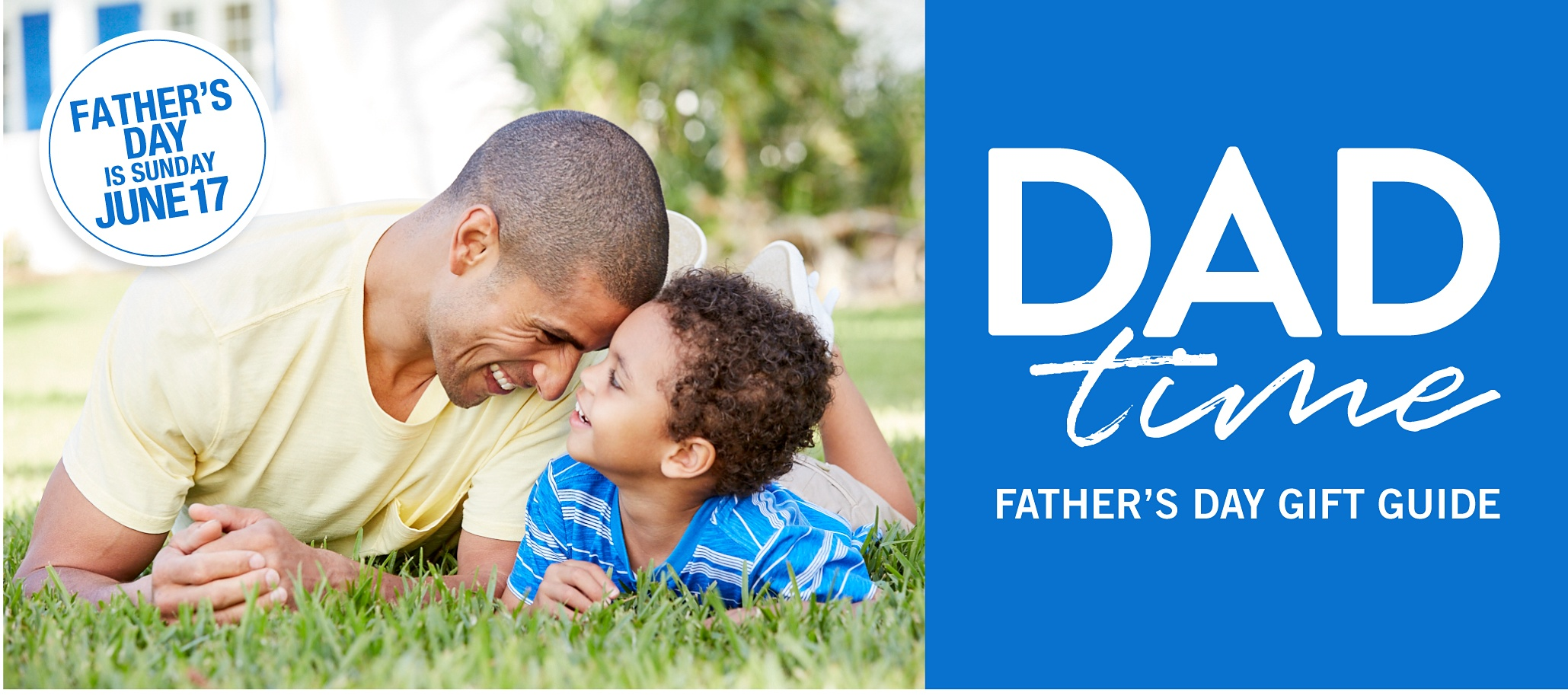 A father & son hanging out on the lawn. Dad is wearing a yellow T shirt & shorts & his son is wearing a blue & white horizontal striped T shirt & beige shorts. Dad Time. Father's Day Gift Guide. Father's Day is Sunday, June 17th.