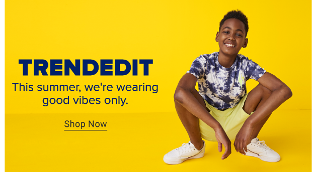 A video fo a girl in a long tie dye shirt and matching shorts does a dance and a pink hat falls on her head. A boy in a blue and white tie dye shirt, yellow shorts and white sneakers. Trend Edit. This summer, we're wearing good vibes only. Shop Now.