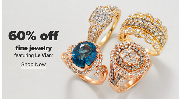 An assortment of rings featuring large gemstones with white diamond accents. 60% off fine jewelry. Shop Now.
