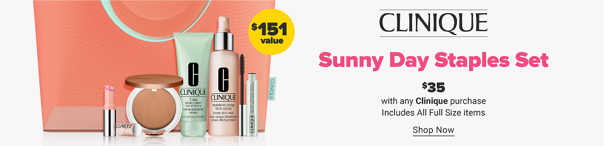 A collection of Clinique beauty products with a carry bag. $151 value. Clinique summer day staples set. $35 with any Clinique purchase. Includes all full size items. Shop now.