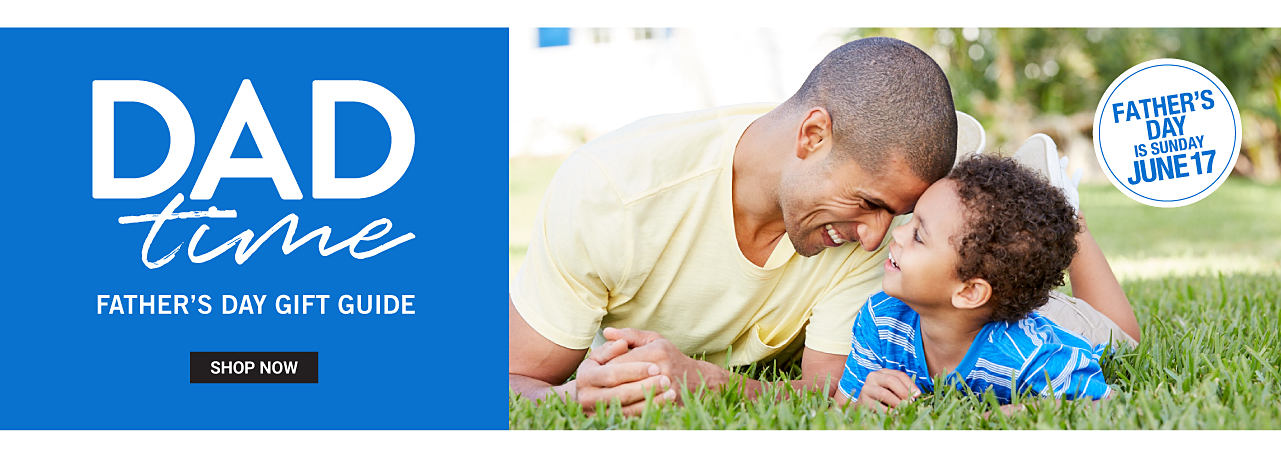 Father & son hanging out on the lawn. Dad is wearing a yellow T shirt & shorts. Son is wearing a blue & light blue horizontal striped T shirt & beige shorts. Dad Time. Father's Day Gift Guide. Father's Day is Sunday, June 17th. Shop now.