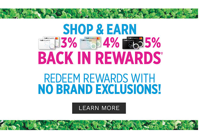 Shop & Earn. 3% back in rewards with Belk Rewards Card purchases. 4% back in rewards with Belk Premier Card purchases. 5% back in rewards with Belk Elite Card purchases. Redeem rewards with no brand exclusions. Learn more.