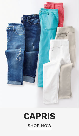 An assortment of capris in a variety of colors. Capris. Shop now.