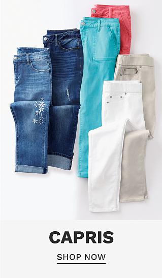 An assortment of capris in an assortment of colors. Capris. Shop now.