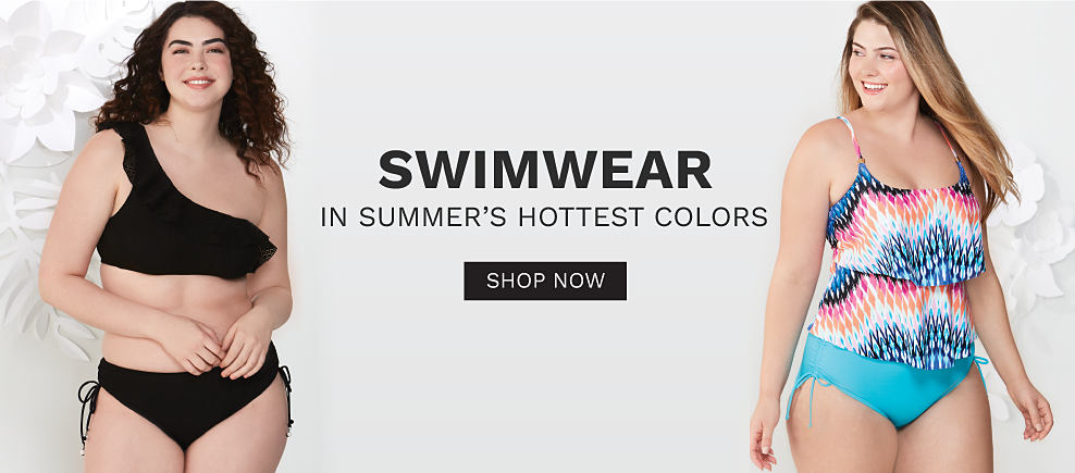 A woman wearing a black 2 piece swimsuit. A woman wearing a multi colored print ruffle detail swim top & light blue swim bottoms. Swimwear in summer's hottest colors. Shop now.