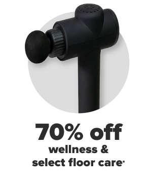A black massager tool. 60% off wellness and select floor care.